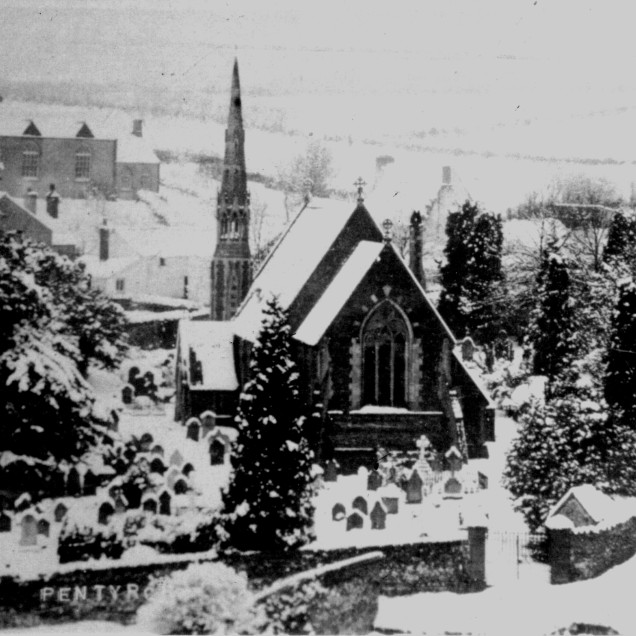 St Catwg's in the snow 1900